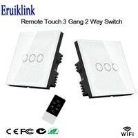 2pcs Wireless Wall Switch UK Standard Luxury Glass Touch Panel Smart Home WiFi Wall Light Switch