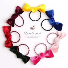 JOLLY S 7pcs velvet hair bows bands 4.5cm furry ball kids girls ties high elastic rubber accessories