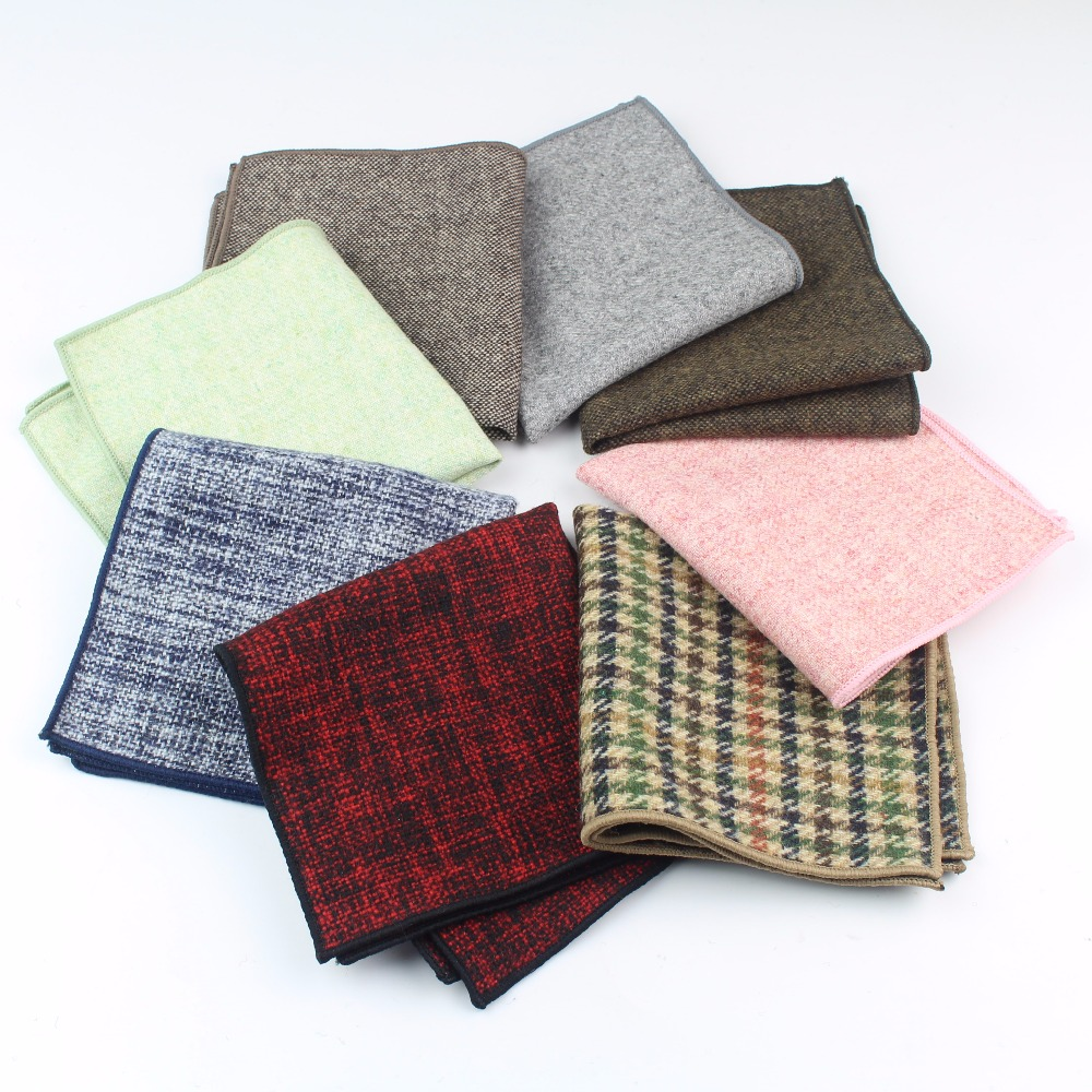 High Quality Wool Cotton Pocket Square Skinny Handkerchief Narrow Solid Color Slim  Clothing Accessories