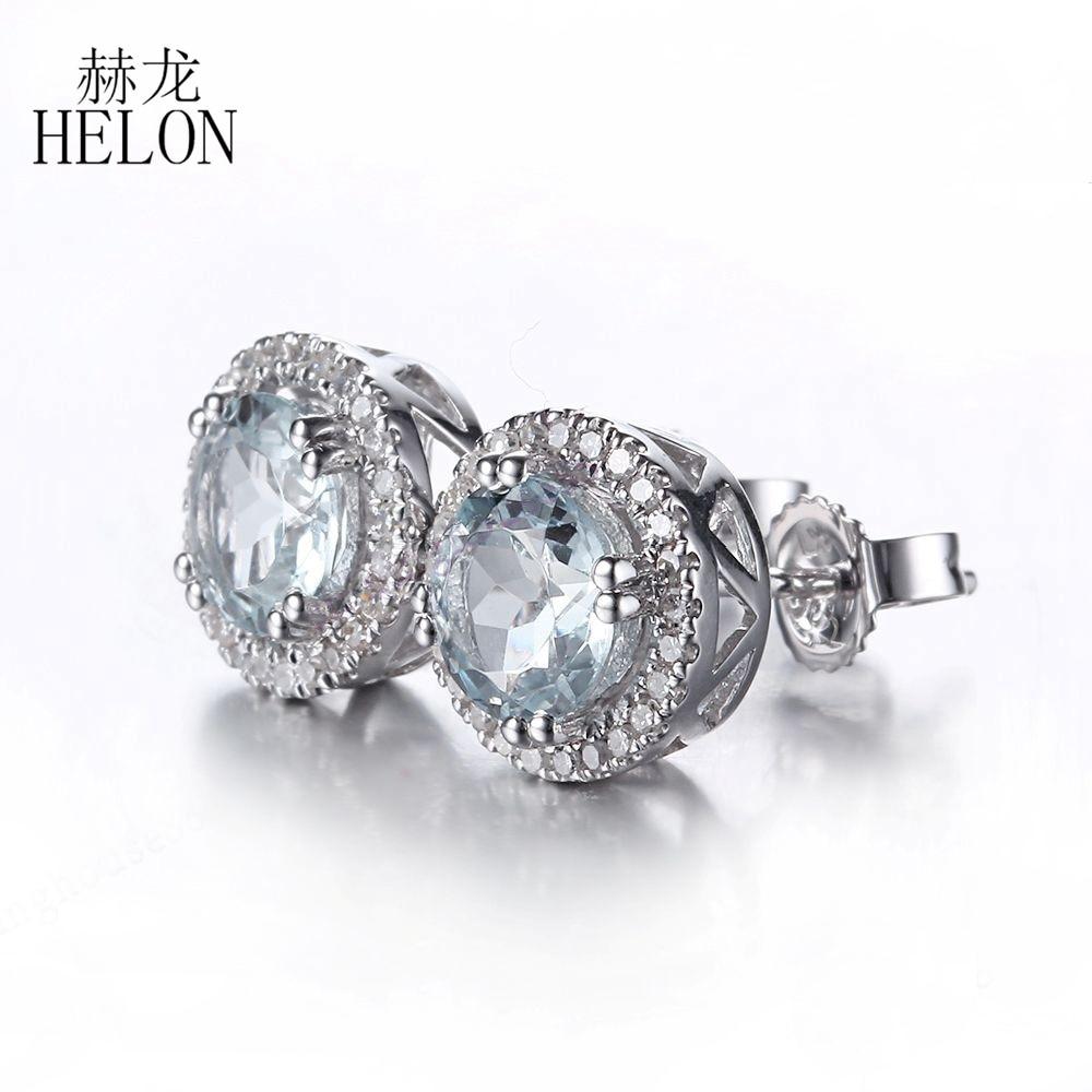 Helon Solid 14k White Gold Round 6mm Aquamarine Diamonds Earrings Halo  Anniversary Stud Earrings Wedding Party