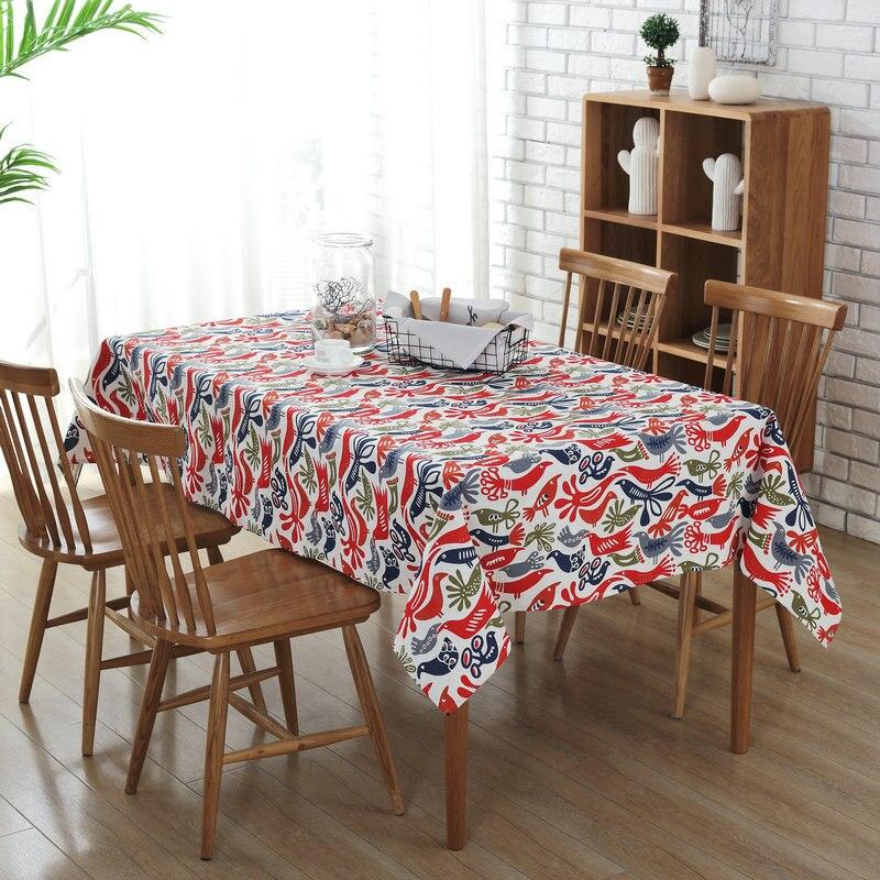 Home Decor Dining Table: Print Cartoon Animal Cotton Linen Tablecloths Kitchen
