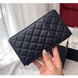 Women luxury caviar leather Wallet top quality designer brands Clutch card holder feminine purse cellphone pouch Long Wallet