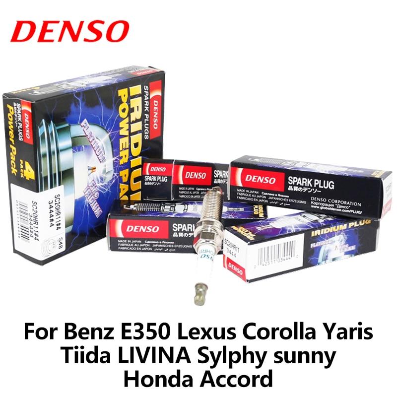 4 pcs/lot DENSO voiture bougie d'allumage pour Benz E350 Lexus Corolla Yaris Tiida Livina Sylphy ensoleillé Honda Accord iridium platine SC20HR11