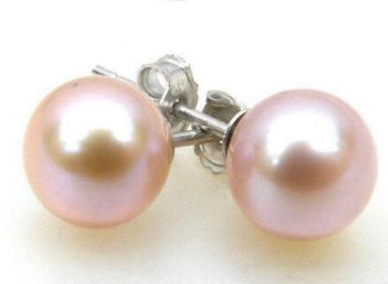 > Благородные Ювелирные изделия AAA+++ 7 мм идеально круглые Лавандовые розовый морской жемчуг жемчужные серьги-гвоздики 14 к белое золото