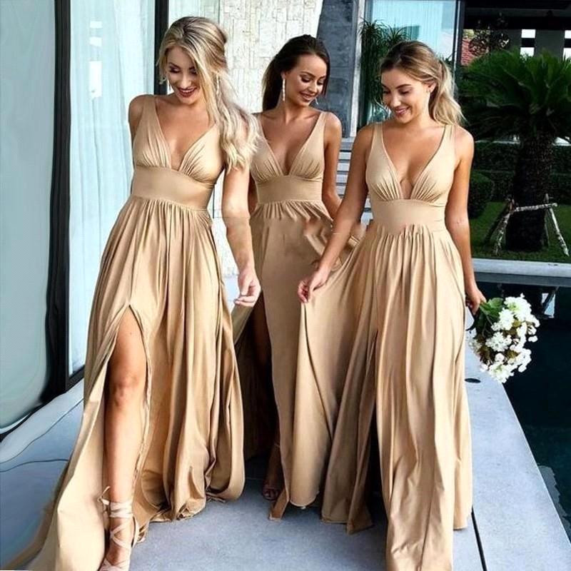 Sexy V Neck High Side Split Maid of Honor Wedding Guest gown robes de demoiselle d'honneur 2018 Gold Cheap   Bridesmaid     Dresses