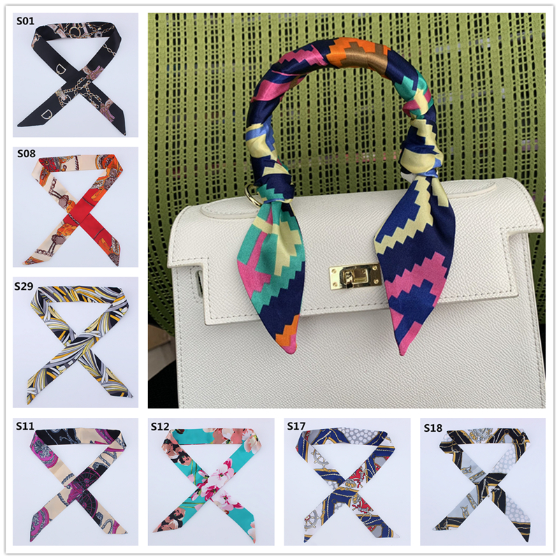 2020 New Silk Skinny Scarf Women Print Designer Hair Band Scarves For Ladies Long Ribbon Bag Scarfs Tie Female Fashion