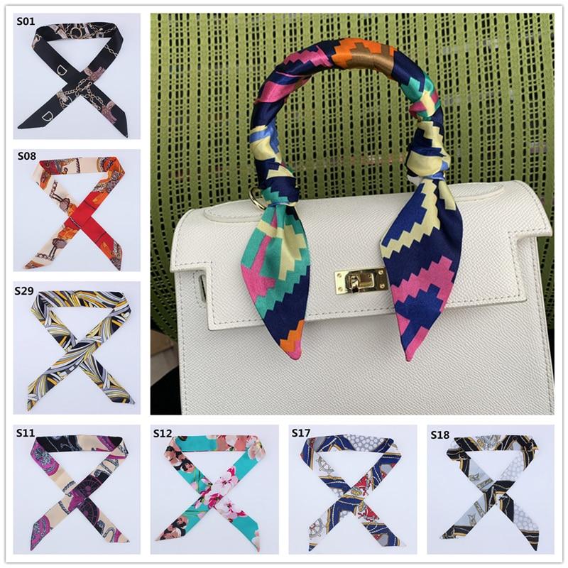 2020 New Silk Skinny Scarf Women Print Designer Hair Band Scarves For Ladies Long Ribbon Bag Scarfs Tie Female Fashion