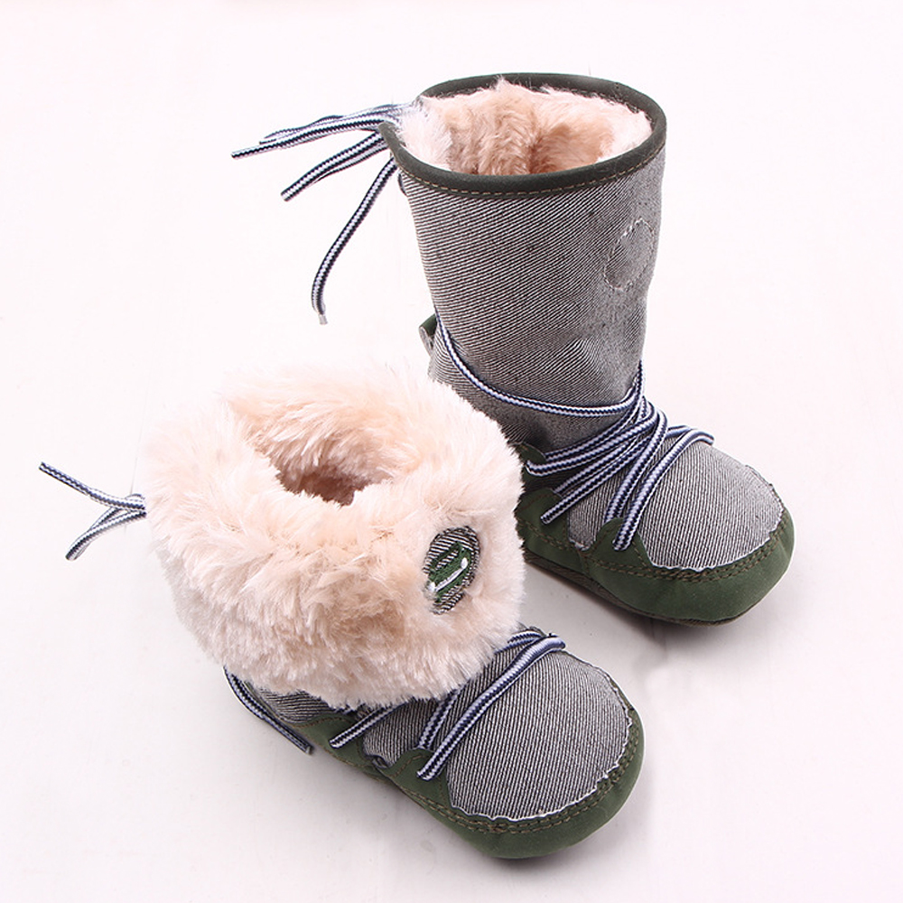 Baby Winter warme Schnee Stiefel Canvals Lace Up weiche Sohle Schuhe - Babyschuhe - Foto 4