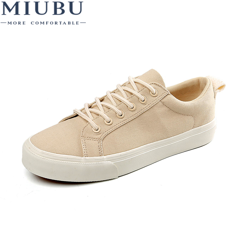 MIUBU New 2019 Hot High Quality Fashion HIgh Men Flats Casual Canvas Shoes Size 39-44