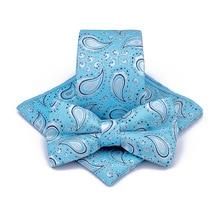 купить Korean Silk Bridegroom Wedding Business Men Tuxedo Suit Orange Blue Floral Pocket Square Towel Handkerchief Necktie Bow Tie Set по цене 716.58 рублей