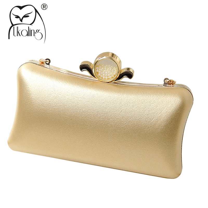 UKQLING Women Box Clutch Small Hardcase Metal Clutches Evening Shoulder Bags for Party Dinner Hand bag