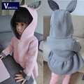 2016 Korean new spring children's coat girls air layer cute rabbit long Korean children 2 colors