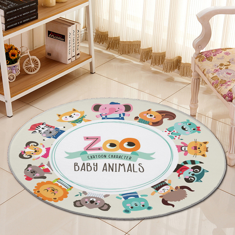 3D Jungle Animals Cartoon Carpet Chair Mat Flannel Area rug Baby Crawling Rugs Mats Kids Bed Room Big Round Carpets Living Room | Happy Baby Mama