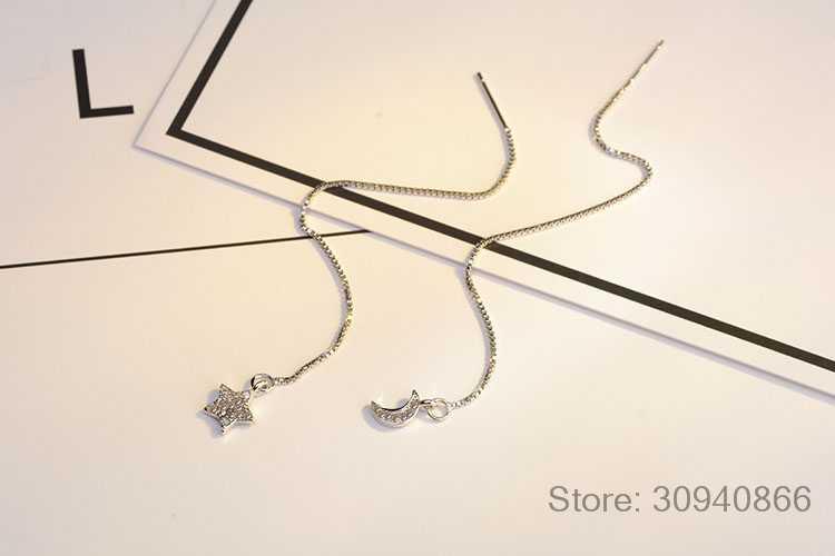 925 boucles d'oreilles en argent Sterling chaîne Micro zircone asymétrique étoile lune longues gland boucles d'oreilles pour les femmes oorbellen S-E614