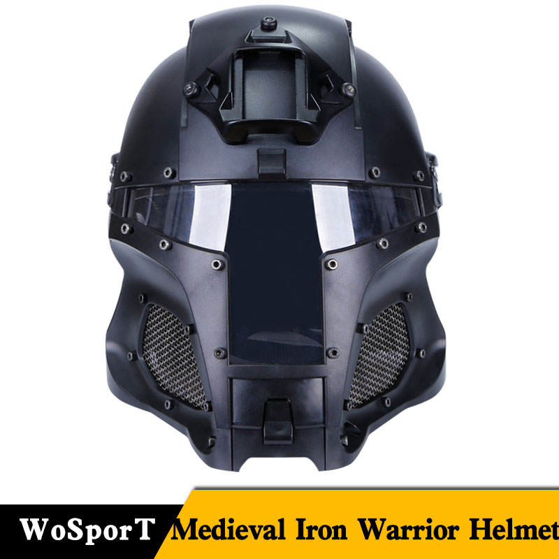 WoSporT Tactical Military Airsoft Paintball With PC Lens Full-Covered Helmet Accessories For CS Wargame Shooting Helmet