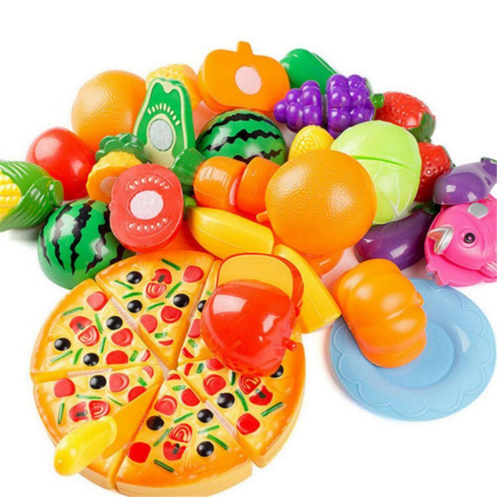 ABWE Best Sale 24PCS Children Play House Toy Cut Fruit Plastic Vegetables Pizza Kitchen Baby Kids Toys Educational Toys