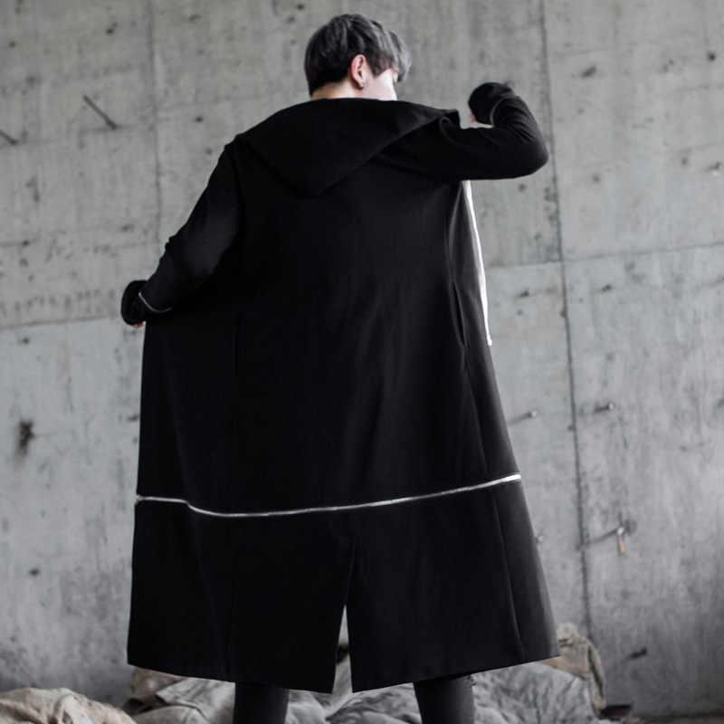 f5167ea9877 ... Мужской панк хип-хоп Тренч Длинные куртки ночной клуб певица черный  костюм мужской готический с ...