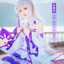 Anime Re Cero Isekai kara Hajimeru Emilia Seikatsu Cosplay Cos Fiesta de Halloween set Completo 4en1 (Vestidos + Headwear + oído + calcetines)
