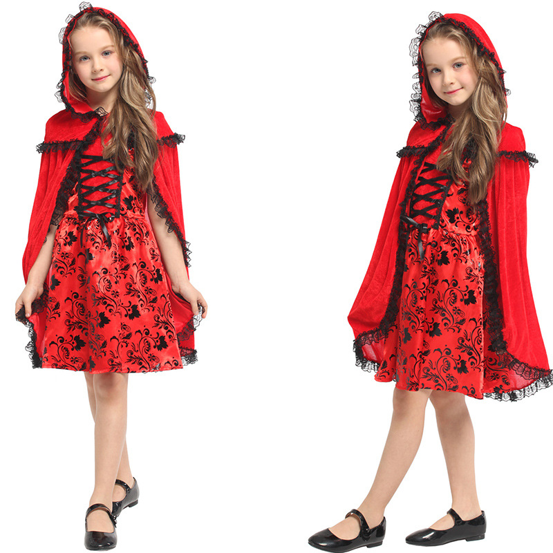 Kids Girls Little Red Riding Hood Costume Children Fancy Dress Cosplay Clothes for Halloween Christmas Carnival Drama Role Play