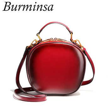 Burminsa Brand Cute Apple Shape Genuine Leather Bags Ladies Shoulder Messenger Bags Designer Handbags Crossbody Bags For Women - DISCOUNT ITEM  49% OFF All Category