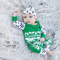 New Baby Fashion Christmas Baby Clothes Set Printing Hat+Long Length Rompers Bebe Clothes Suit For Sets 0-2 Years Old
