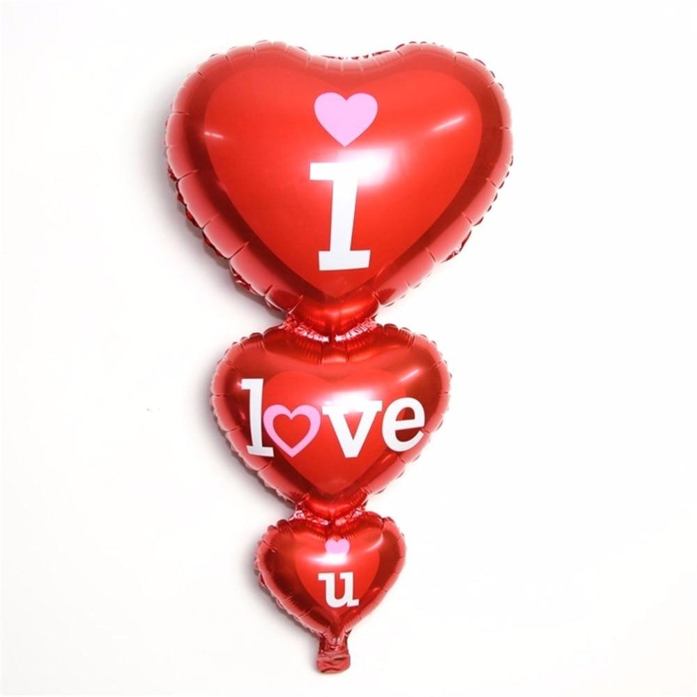 1PC 96 * 50 ՍԻՐՈՒՄ ԵՆ ձեզ նամակ տպագրական փուչիկ Ռոմանտիկ սրտի փայլաթիթեղի փուչիկներ