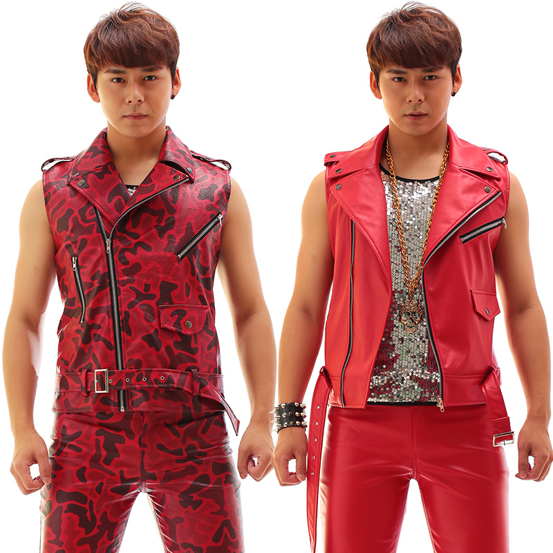 Fashion Red slim Rack Drum print vest pants Nightclub Male singer Leather Vest Set Costumes Stage show performance wear