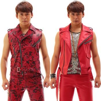 Fashion Red slim Rack Drum print vest pants Nightclub Male singer Leather Vest Set Costumes Stage show performance wear