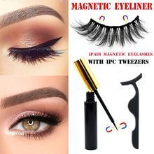 Magnetic Eyelashes & Magnetic Eyeliner & Tweezer Set 5 Magnet Eyelashes Waterproof Magnet Eyeliner 1Pair No Glue False Eyelashes