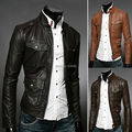 High quality 2016 Leather Jacket Autumn Winter New Multi Buckle Design Korean Men Short Slim Fit Motorcycle Leather Jacket