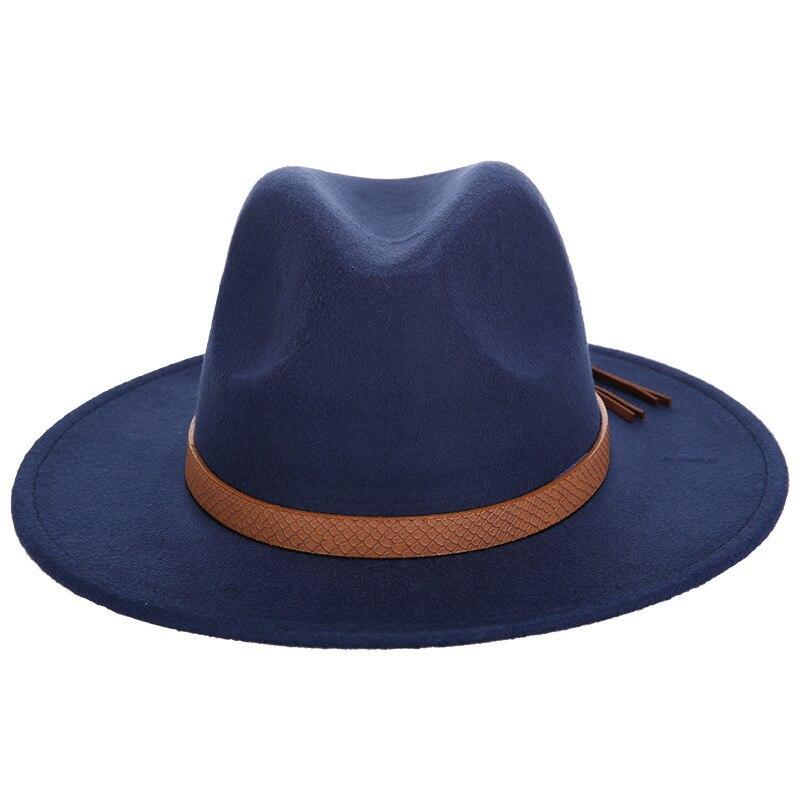 Горячая мода шерстяная шляпа зимняя женская мужская фетровая шляпа широкополый цилиндр шляпы женские винтажные большие Sombrero Джаз открытый кости - Цвет: Navy
