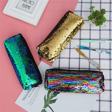 1PC Women Fashion Kosmetyczka Cosmetic Bag Mermaid Sequin Makeup Bag Organizer Reversible Glitter necessaire feminina Bag(China)