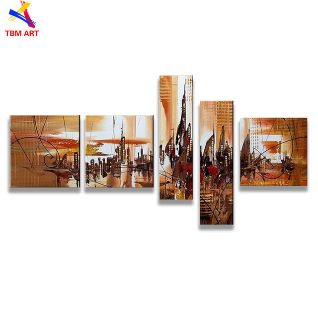 Coffee Color City Scape Picture Wall Art Gift Hand Painted Modern Abstract Oil Painting on Canvas Wall Art Gift No Frame,Z070