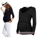 Maternity clothing spring and autumn plicated springy top maternity t-shirt basic long-sleeve cotton Clothes For Pregnant Women