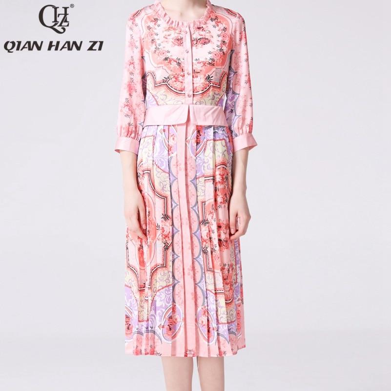 Qian Han Zi newest 2019 Designer fashion Runway summer dress Women s sleeve pattern Printed elegant