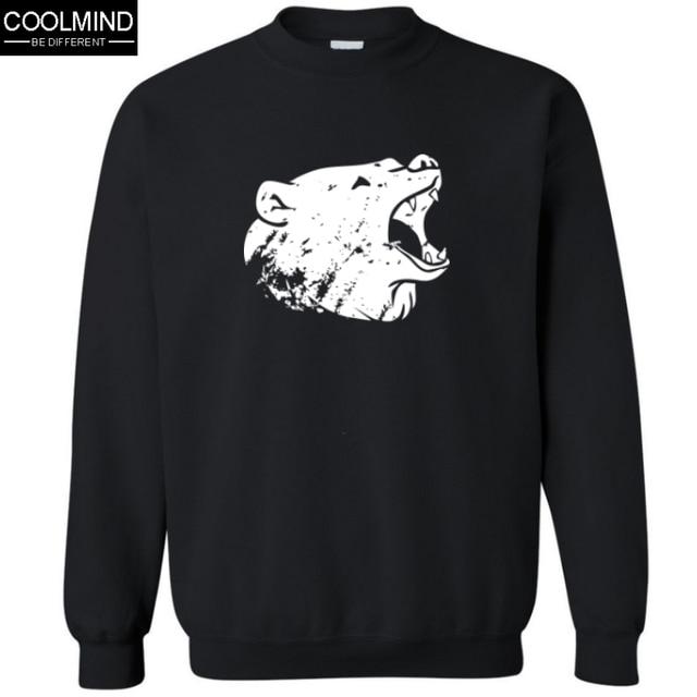 Big size Top Quality Cotton blend men Hoodies casual cool fashion bear print crewneck sweatshirt for men C01