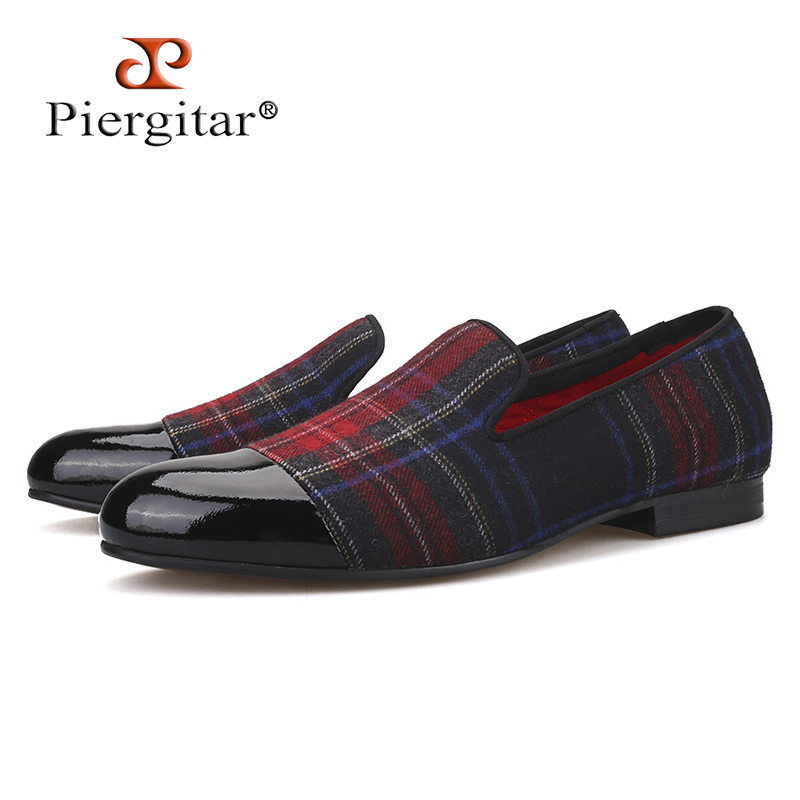 Piergitar new Handmade men loafers with gingham designs and black leather toe wedding and party slip