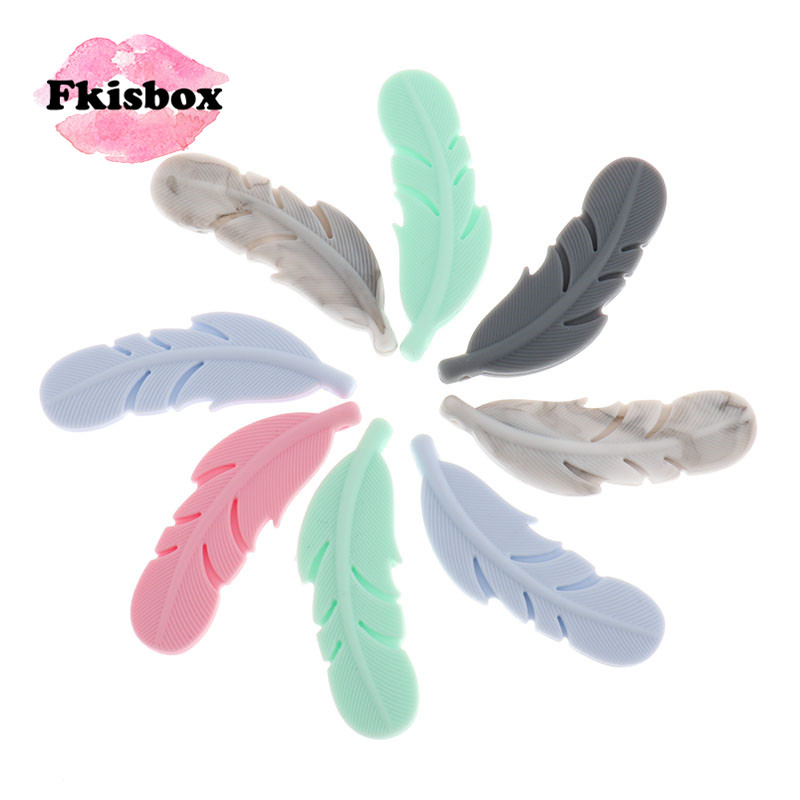 Fkisbox 50pc Silicone Feather Beads Food Grade Newborn Teething Necklace Accessories DIY Baby Teether Pacifier Chain Nursing Toy