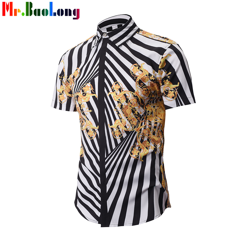 3D Printed Shirt Men Golden Floral Pattern Casual Fancy Fit Slim Dress SEurohirt Camasia Social Masculina Homme