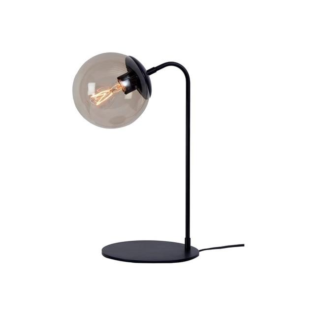 Glass Ball Table Lamp Black Metal Stand Desk Lights Retro Bedroom Bedside Living Room Lighting Fixtures