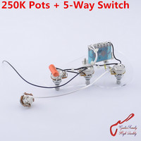 High Quality Electric Guitar Wiring Harness For St 250K Pots 5 Way Switch 1 Jack