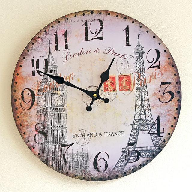 wanduhr kuche europa stil london holz malerei ka 1 4 che elektronische groae dekorative wanduhren geschenke wohnkultur 35 cm kaffee