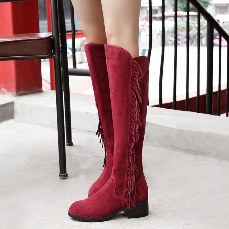 Neue Knie Kappe Schwarzes Botas Winter 33 Quaste Größe elfenbein Echtem Echte Frauen 46 Warme Leder Niedrigen Schuhe Ferse Runde Misakinsa rot Stiefel v8Yq4xn