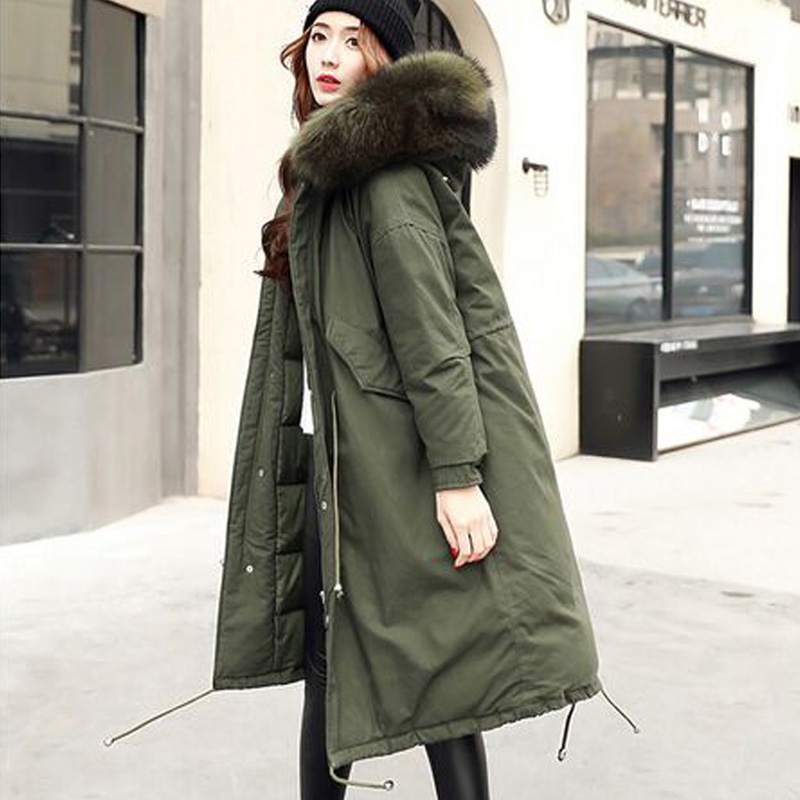 Large Real Natural Raccoon Fur 2017 New Brand Parkas Winter Jacket Women Thick Loose Size Coat Outwear Parkas Army Green