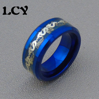 Blue Luminous Ring Men Jewelry Silver Dragon Stainless Steel Rings Glow In The Dark Tungsten Steel