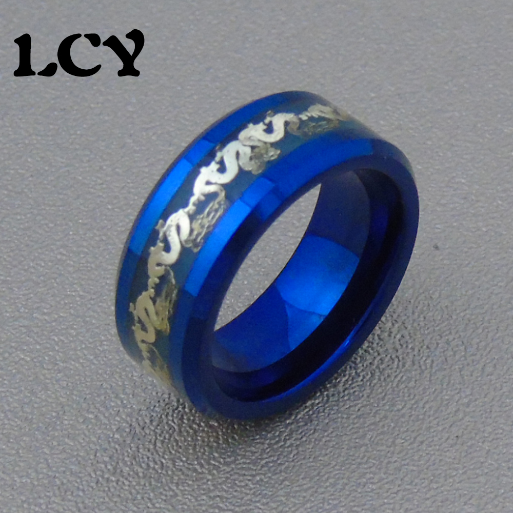 Blue Luminous Ring Men Jewelry Gold Dragon Stainless Steel Rings Glow In The Dark Tungsten Steel