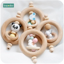 Bopoobo 1PC Baby Toys Beech Wood Bear Hand Teething Wooden Ring Can Chew Beads Play Gym Montessori Rattles