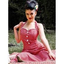 """40-летний сезон от брэнда """"Винтаж 60-е в мелкую клетку кинозвезды свободное платье с лямкой на шее в красном цвете размера плюс с кружевной отделкой vestidos рокабилли jurken платья для женщин"""