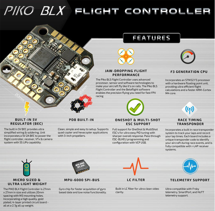 F19435 Newest PIKO BLX Betaflight Micro Flight Controller for DIY Indoor Mini Micro FPV Quadcopter Racing Drone F3 CleanFlight