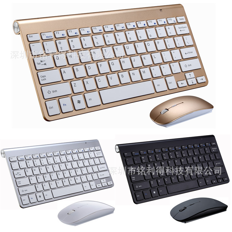 Portable Wireless Keyboard For Mac Notebook Laptop TV Box 2.4Ghz Mini Keyboard Mouse Set Office For IOS Android Russian Sticker